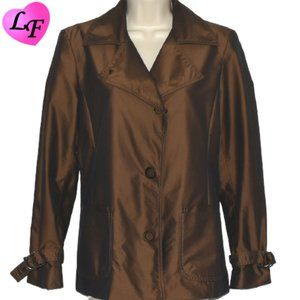 Rain Resistant Jacket Shimmery Brown Size Small